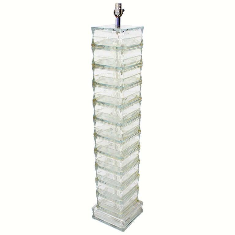 italian glass block midcentury modern floor lamp 1