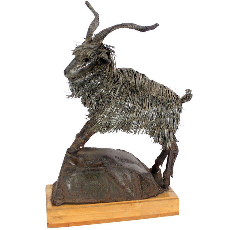 Tall Mid-Century Modern Metal Sculpture of a Goat