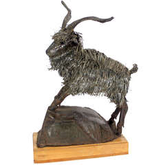 Tall Mid-Century Modern Metal Sculpture of a Goat