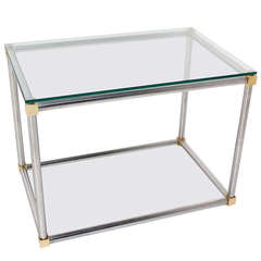 Chrome, Brass and Glass Cube Shape Mid-Century Modern Side Table by Mastercraft