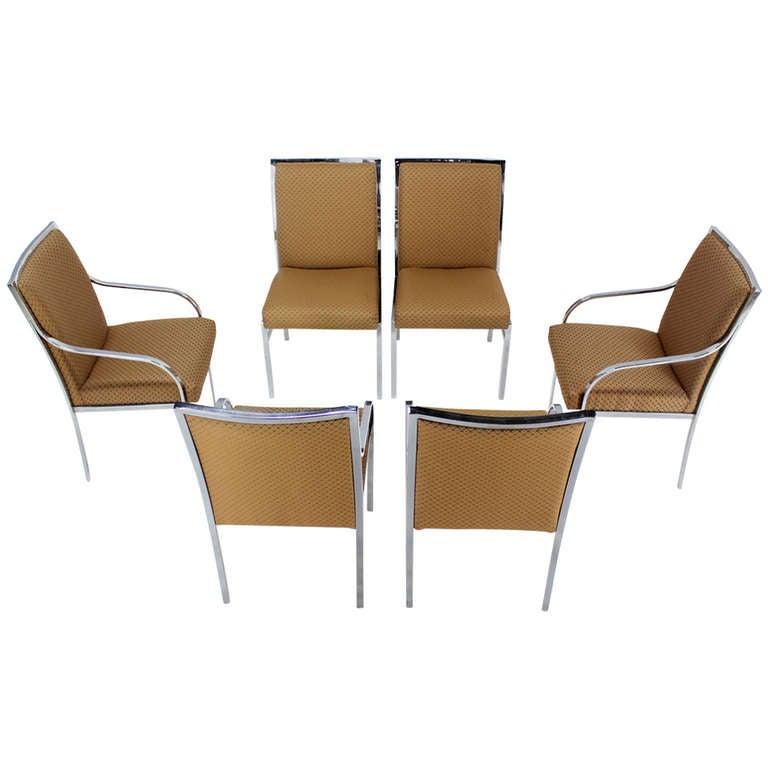 Set of six chrome mid century modern dining chairs at 1stdibs for Modern chrome dining chairs
