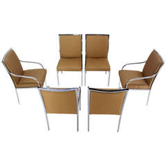 Set of Six Chrome Mid-Century Modern Dining Chairs