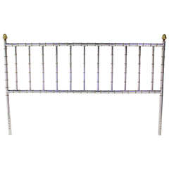 Mid Century Modern Faux Bamboo Chrome and Brass King Size Headboard