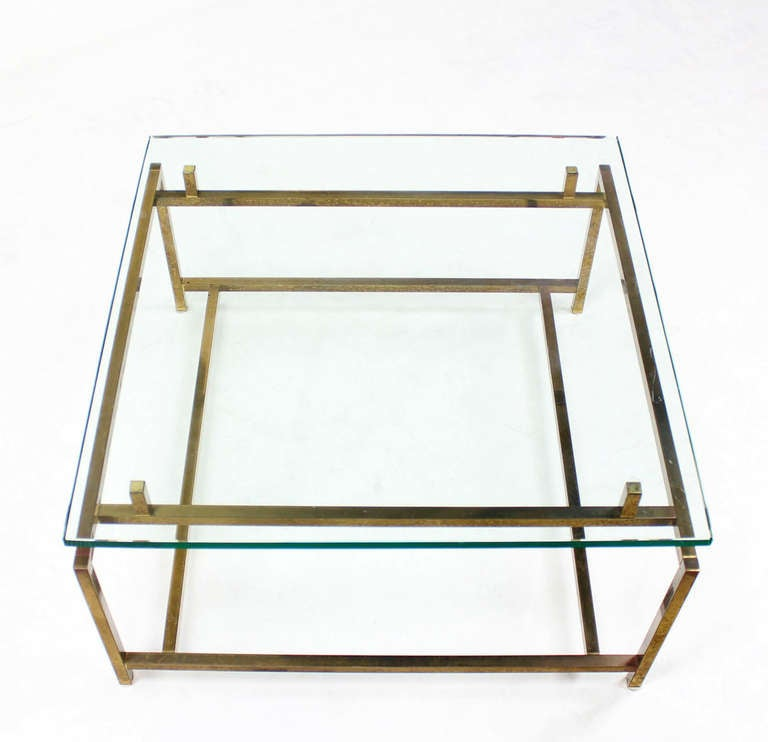 Metal Square Coffee Table With Glass Top And Triangular: Brass And Thick Glass, Square-Top Coffee Table At 1stdibs
