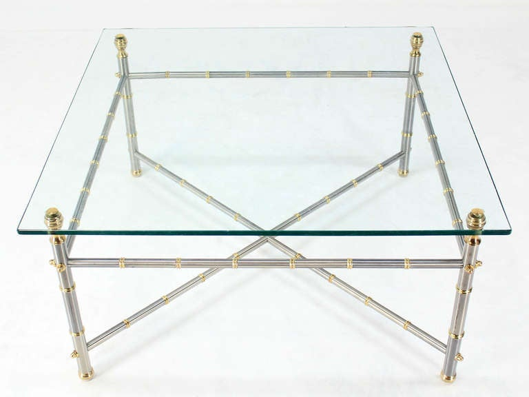 Metal Faux Bamboo, Chrome And Brass Base, Glass Top Square Coffee Table 2