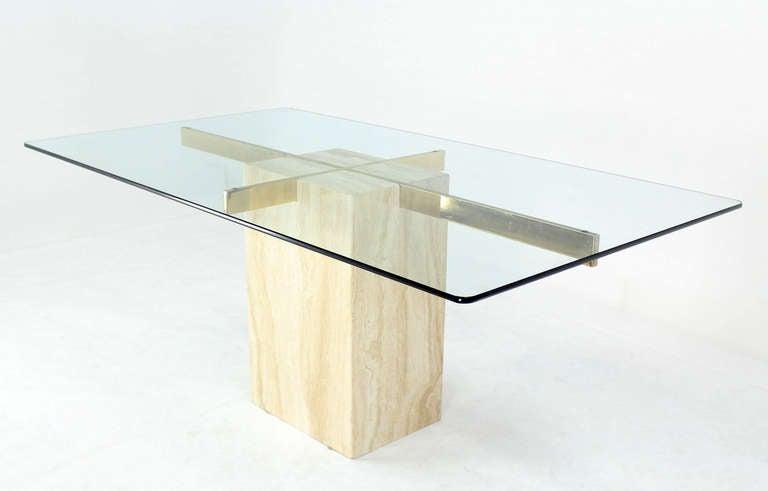 Travertine Pedestal Base Glass Top Mid Century Modern Dining Table 2