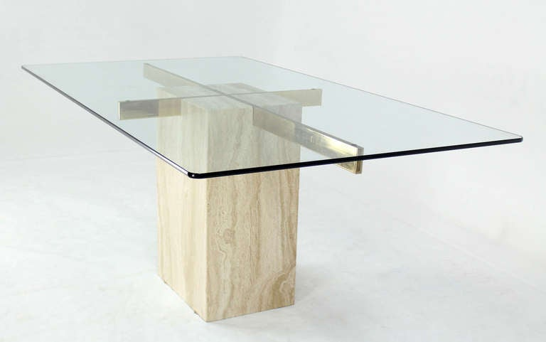 Travertine Pedestal Base Glass Top Mid Century Modern Dining Table - Glass top mid century dining table