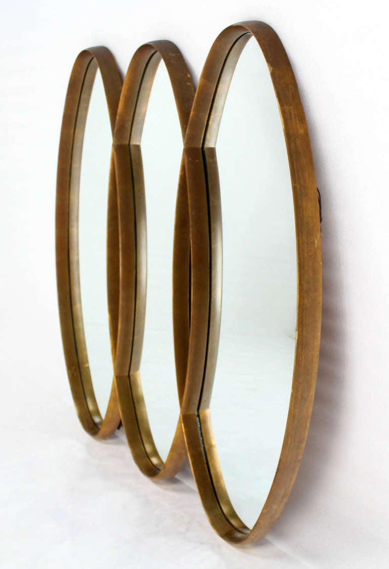 Triple overlapping oval mid century modern mirror at 1stdibs for Modern mirrors