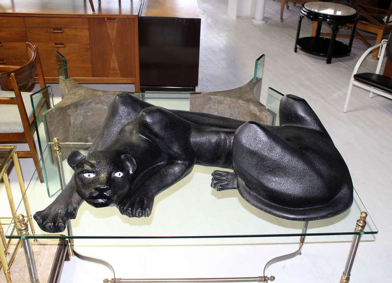Large Coffee Table Sculptural Base Of A Panther For 2