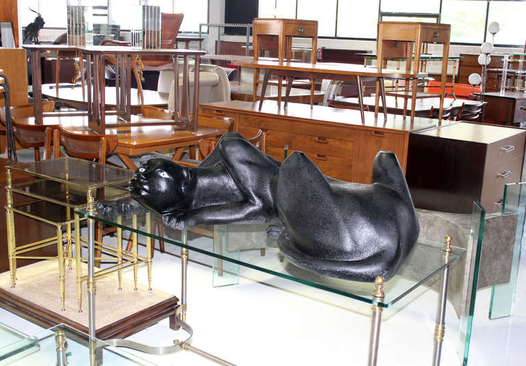 Large Sculpture Coffee Table Base Of Panther Cat At 1stdibs