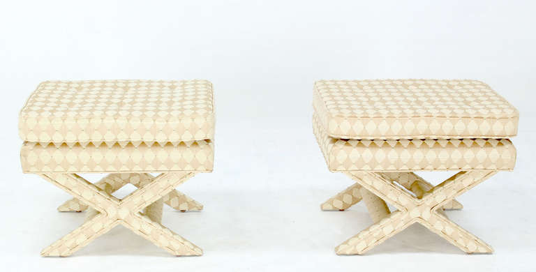 Pair of Mid-Century Modern X-Base Billy Baldwin Benches 6