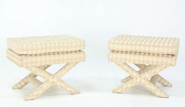 Pair of Mid-Century Modern X-Base Billy Baldwin Benches 8