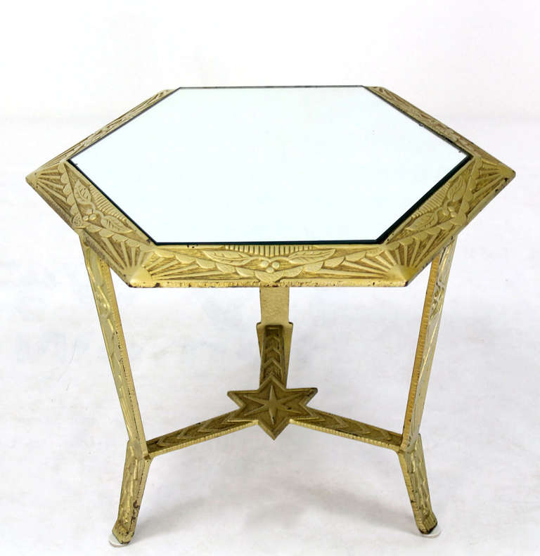 Mid Century Modern Hexagon Top And Star Base Side Or
