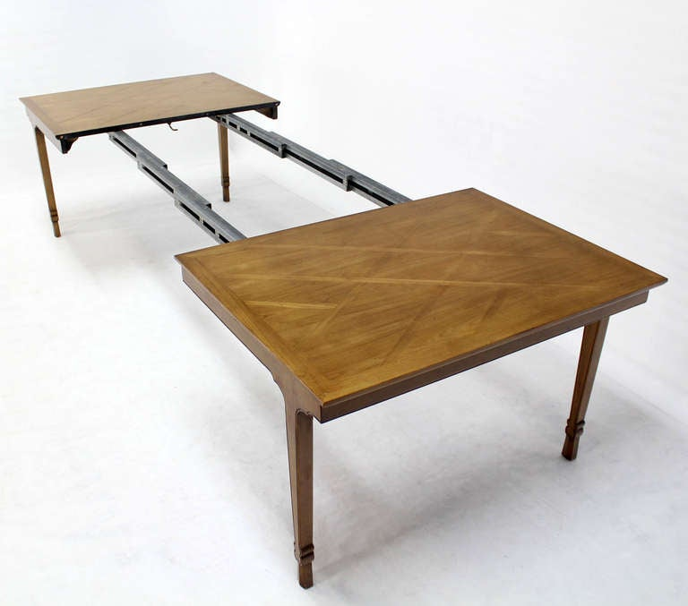 Baker mid century modern dining banquet table with three for 3 leaf dining room tables