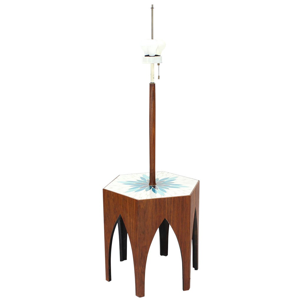 Tile and Oiled Walnut Floor Lamp Side Table