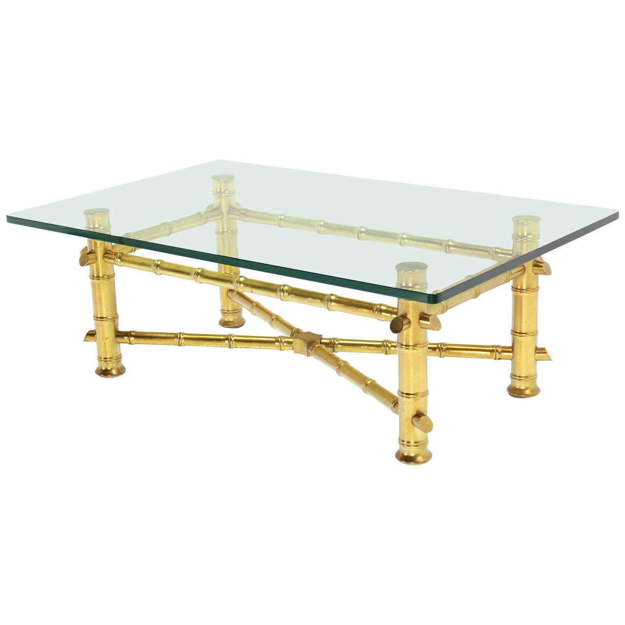 Gold Leaf Faux Bamboo Base Coffee Table With Thick Glass Top At 1stdibs