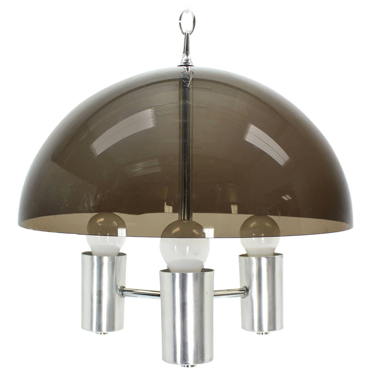 Smoked Dome Chrome Mid Century Modern Light Fixture For Sale At 1stdibs