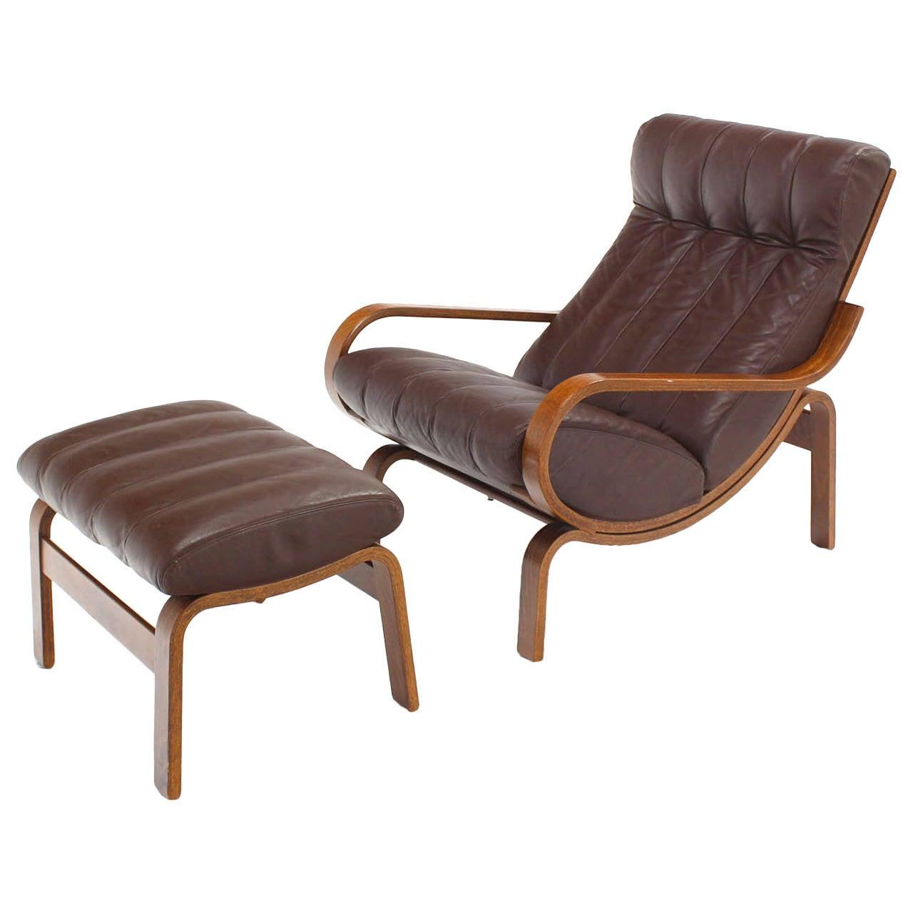 Danish Modern Adjustable Lounge Chair with Ottoman at 1stdibs