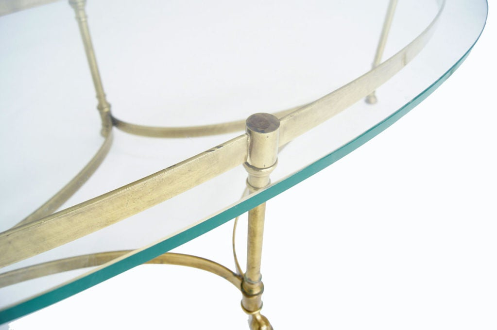 Brass And 3 4 Quot Heavy Glass Oval Hoof Foot Coffee Table At
