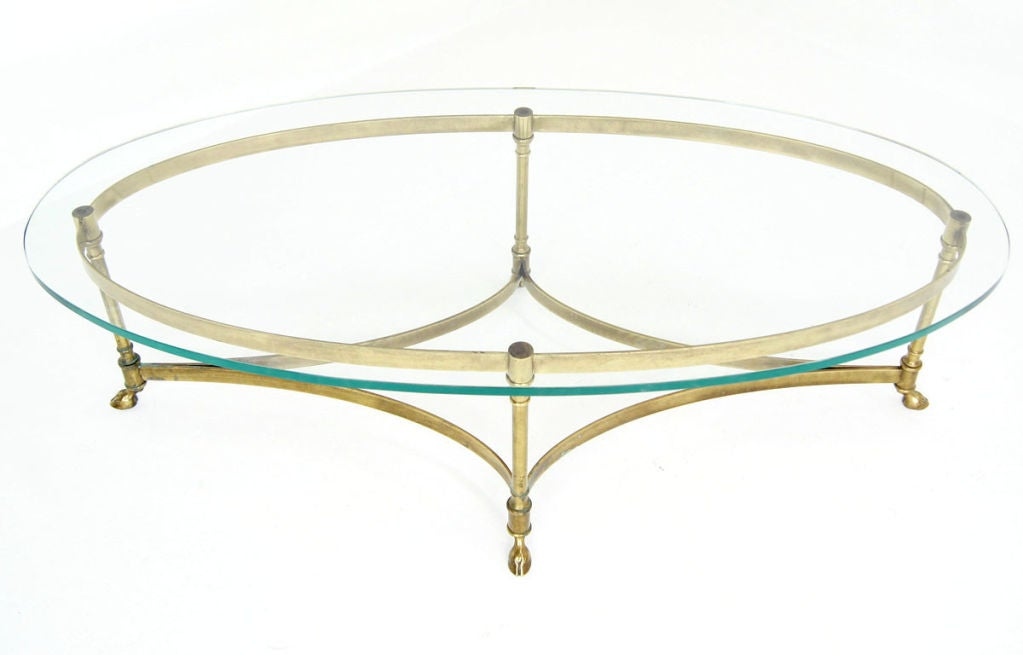 Brass and 3 4quot heavy glass oval hoof foot coffee table at for Heavy glass coffee tables