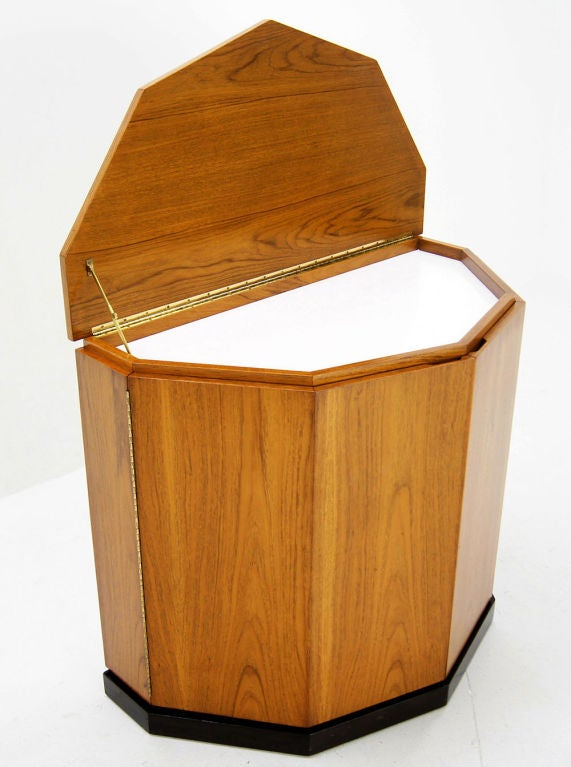 Mid-Century Modern Harvey Probber Lift Top Demilune Liquor Cabinet For Sale
