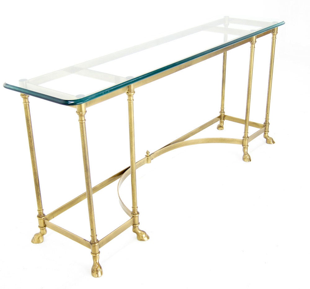 Glass and brass hoof feet console table jensen style at for 5 foot console table