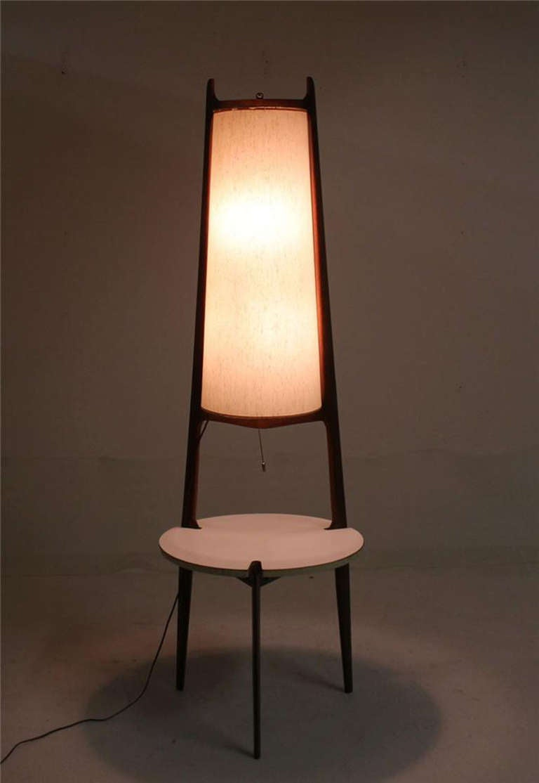 Mid Century Modern Walnut Floor Lamp With Side Table For