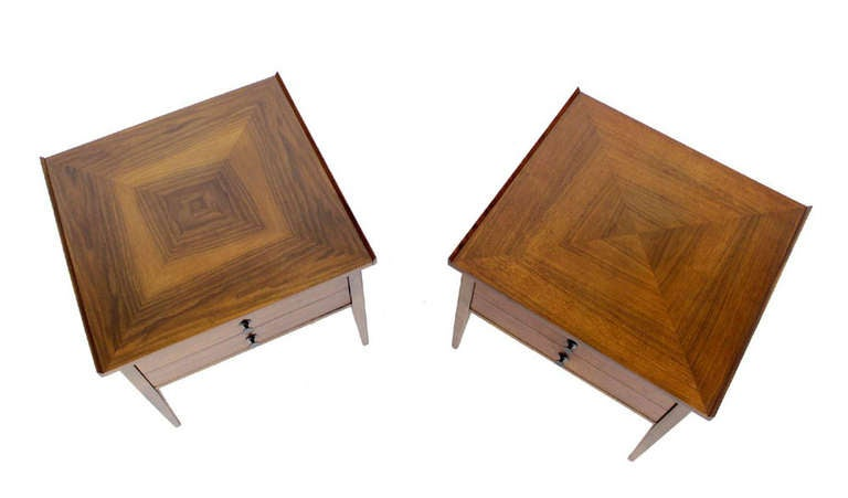 Pair of mid century modern walnut end side tables night stands