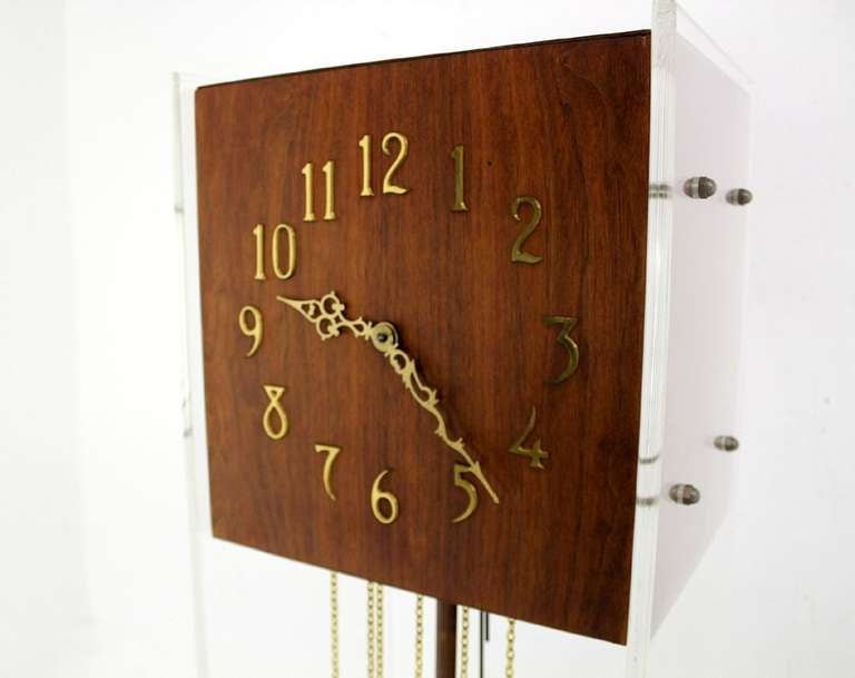 Mid Century Modern Walnut Lucite Grandfather Clock With Chime For Sale At 1st