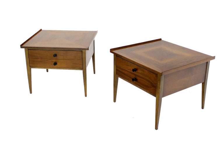 Pair Large Square Raised Rolled Edge Danish Mid Century Modern Walnut End Tables For Sale