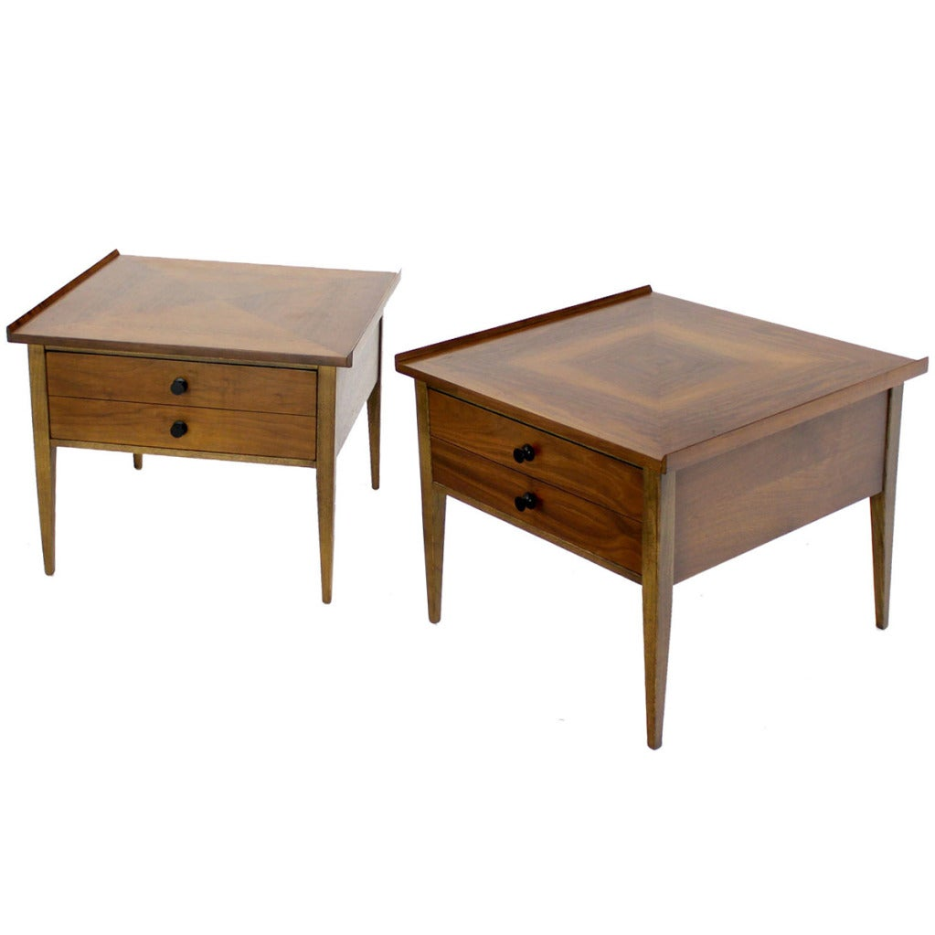 Pair Large Square Raised Rolled Edge Danish Mid Century Modern Walnut End Tables For