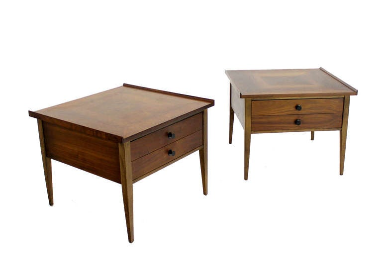 Mid-20th Century Pair Large Square Raised Rolled Edge Danish Mid Century Modern Walnut End Tables For Sale