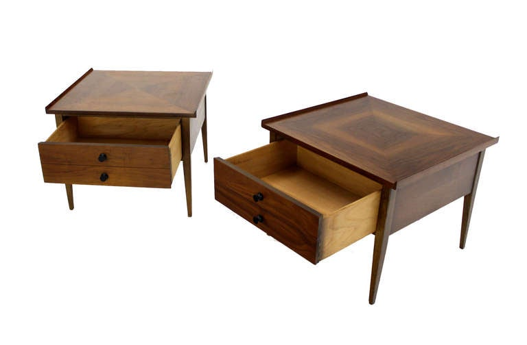 Pair Large Square Raised Rolled Edge Danish Mid Century Modern Walnut End Tables For Sale 3