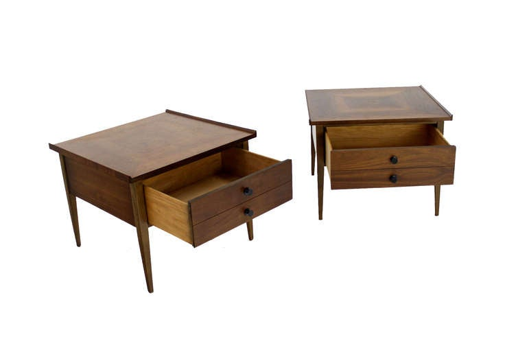 American Pair Large Square Raised Rolled Edge Danish Mid Century Modern Walnut End Tables For Sale