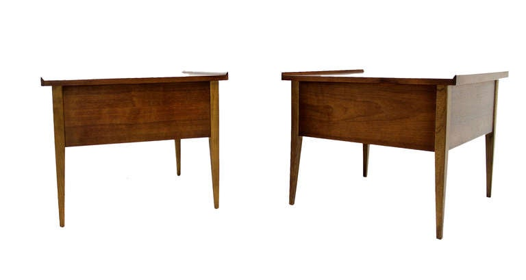 Pair Large Square Raised Rolled Edge Danish Mid Century Modern Walnut End Tables For Sale 1