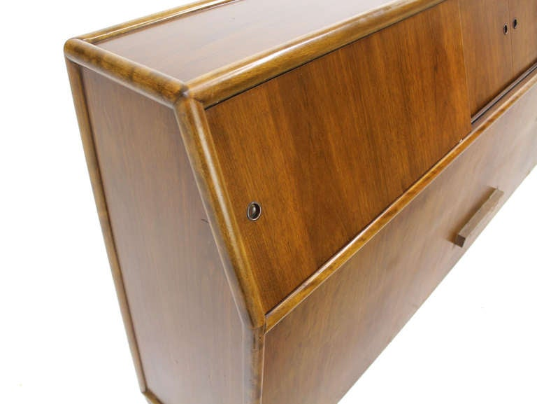 Very nice mid-century modern king size headboard - storage cabinet. Put away your blankets or use as bookcase, etc. Perfect shelve over your head to hold drinks reading lights, or just display you favorite pictures, etc.