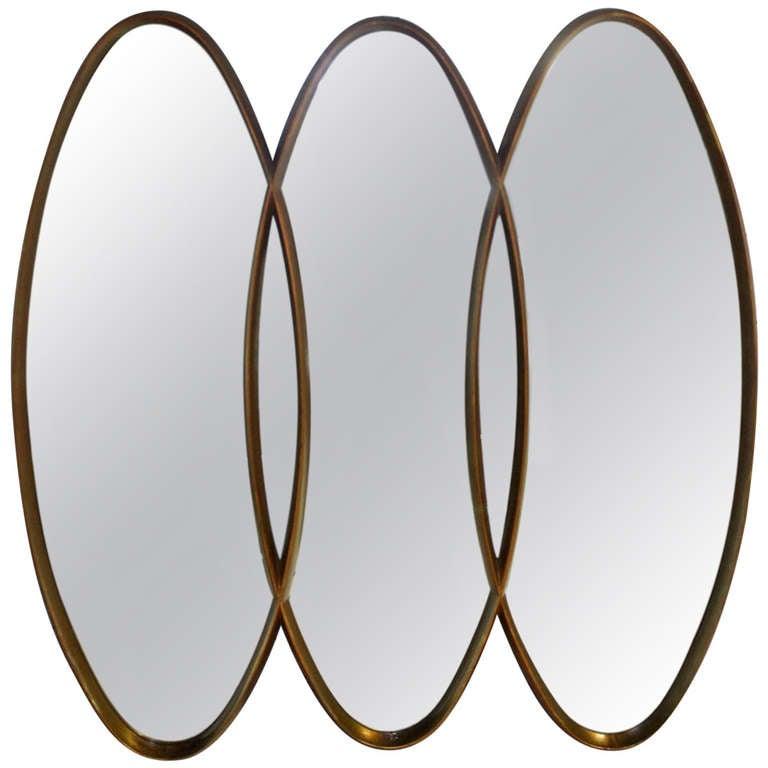 mid century modern mirror Triple Overlapping Oval, Mid Century Modern Mirror at 1stdibs mid century modern mirror