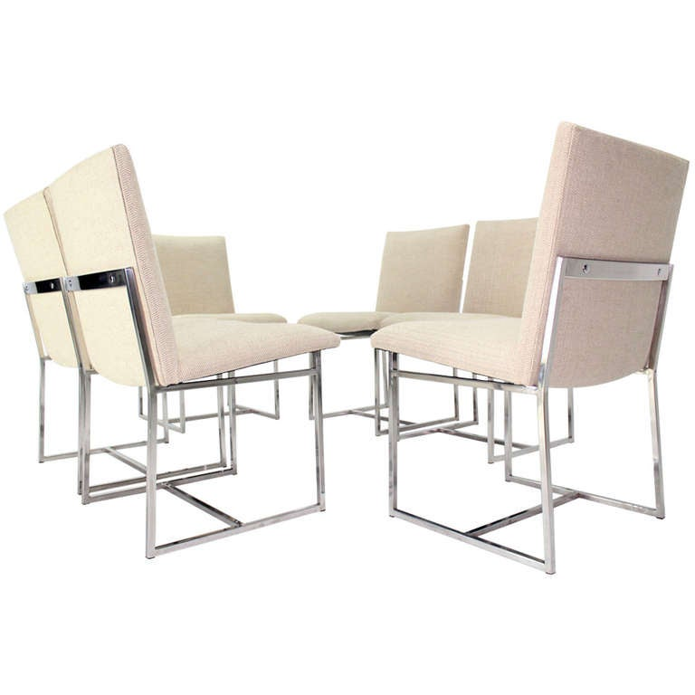 Chrome Dining Room Chairs: Set Of Six Mid-Century Modern Chrome Dining Chairs In The