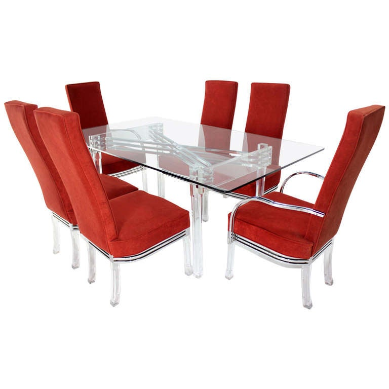 mid century modern set of six dining chairs and table in lucite