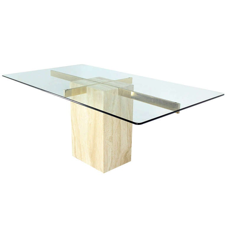 Travertine pedestal base glass top mid century modern for Dining room table pedestal bases