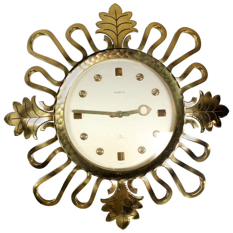 semca midcentury modern bronze sunburst clock made in switzerland 1