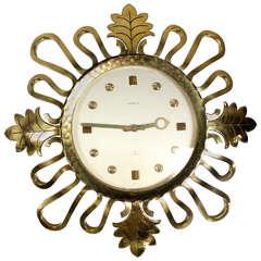 Semca Mid-Century Modern Bronze Sunburst Clock Made in Switzerland