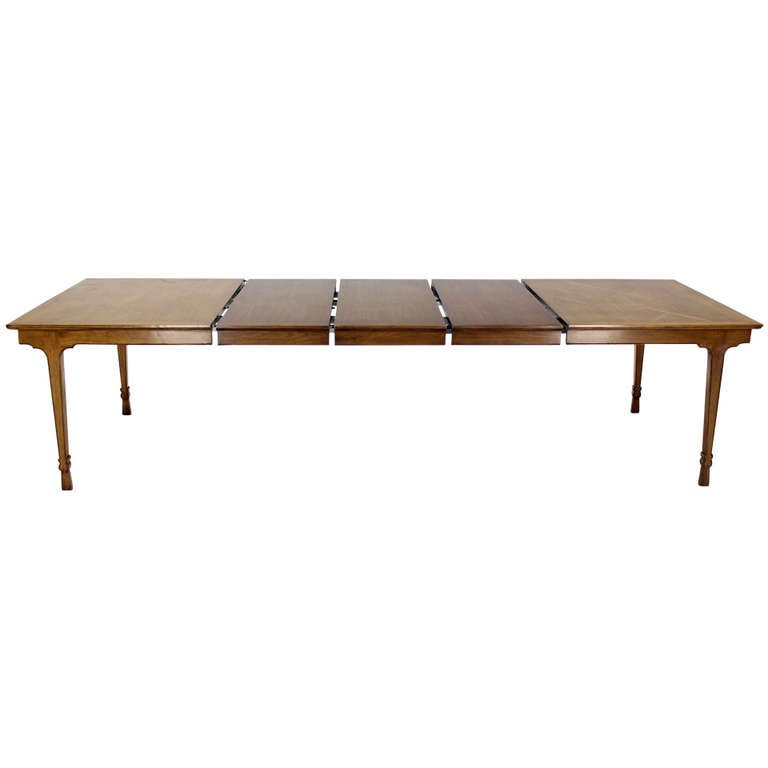 Baker Mid Century Modern Dining Banquet Table With Three Extension