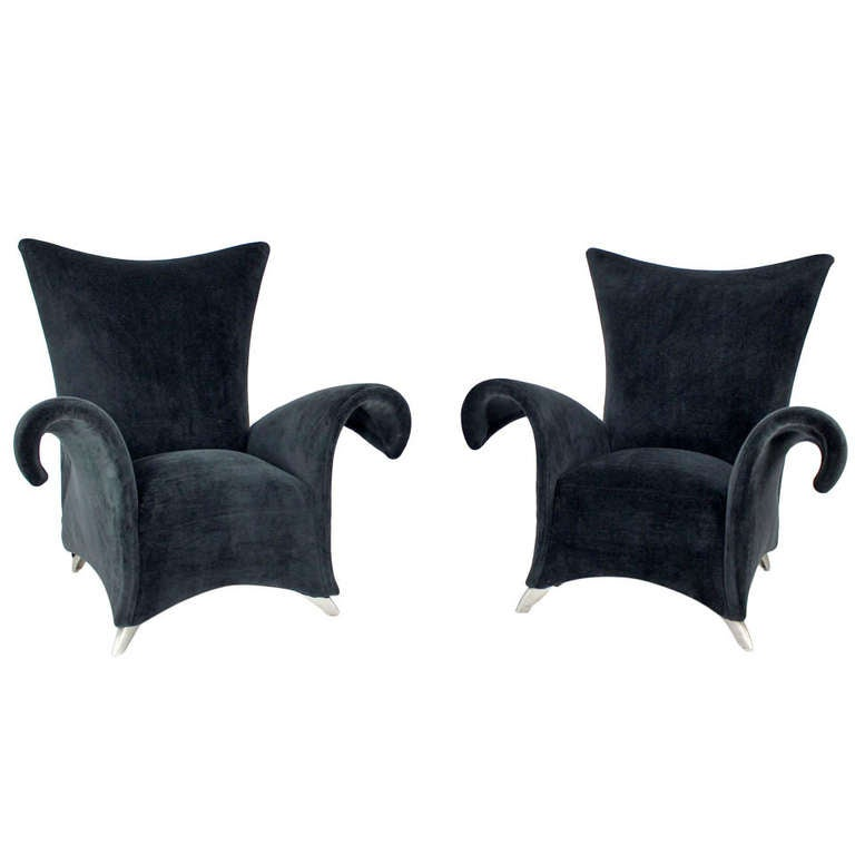 Pair of Mid Century Modern High Back  Oversize Wingback Chairs