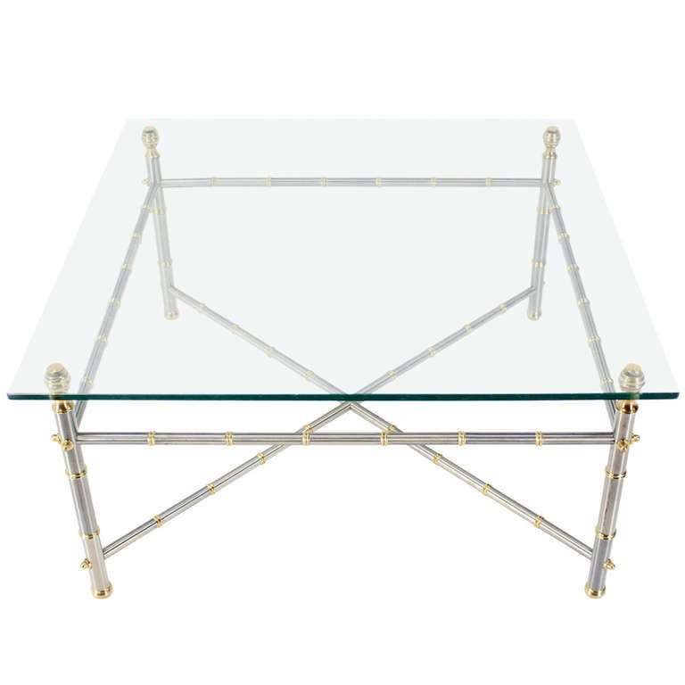 Metal Faux Bamboo Chrome And Brass Base Glass Top Square Coffee Table For Sale At 1stdibs
