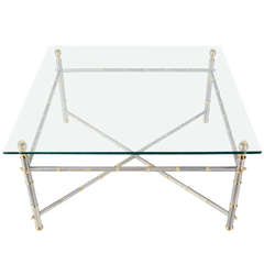 Baughman Chrome X Base Floating Marble Top Coffee Table