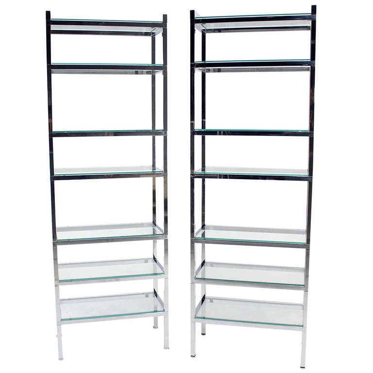 Pair of Tall and Narrow Chrome & Glass Etageres