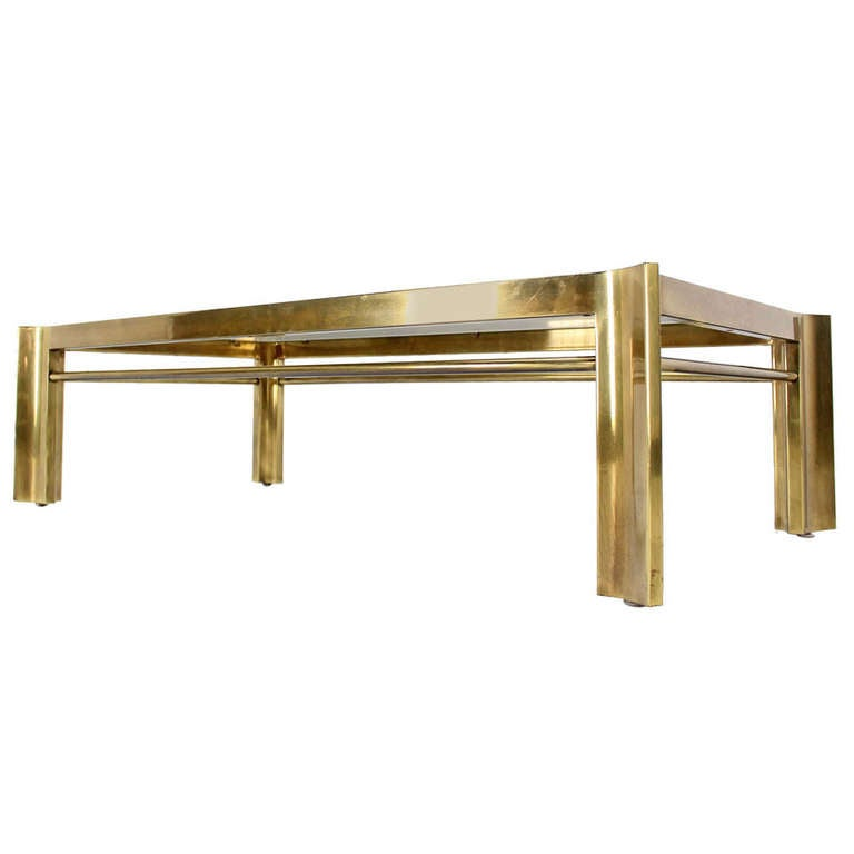 Mid Century Modern Large Rectangle Brass And Glass Coffee Table Mastercraft At 1stdibs