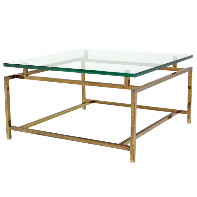 Brass And Thick Glass, Square-Top Coffee Table At 1stdibs