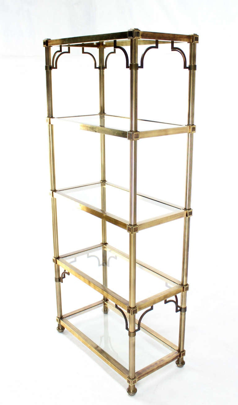 midcentury brass finish maison jansen style five shelf etagere at 1stdibs. Black Bedroom Furniture Sets. Home Design Ideas